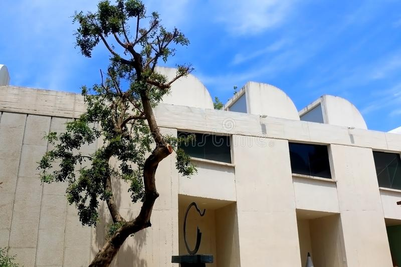 Architecture in Barcelona, Spain. Barcelona, Spain - July 8, 2018: Joan Miró Foundation Fundació Joan Miró is ais a museum of modern art honoring artist royalty free stock photos