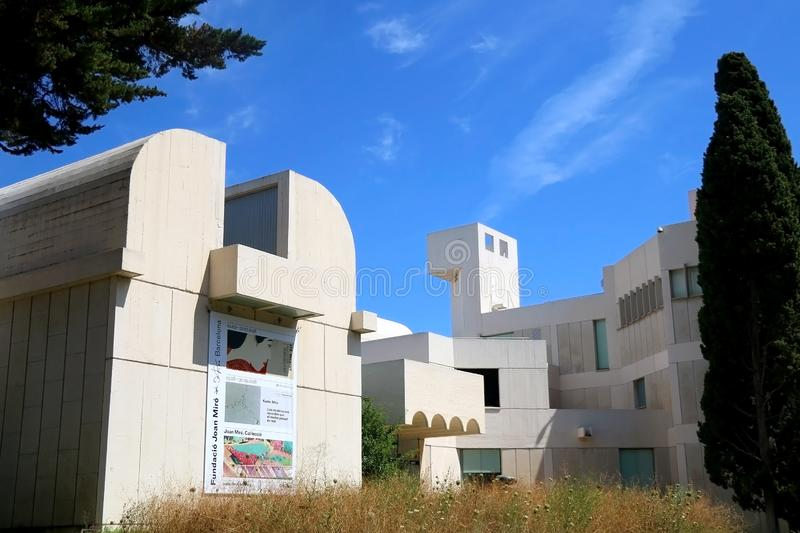 Architecture in Barcelona, Spain. Barcelona, Spain - July 8, 2018: Joan Miró Foundation Fundació Joan Miró is ais a museum of modern art honoring artist royalty free stock images