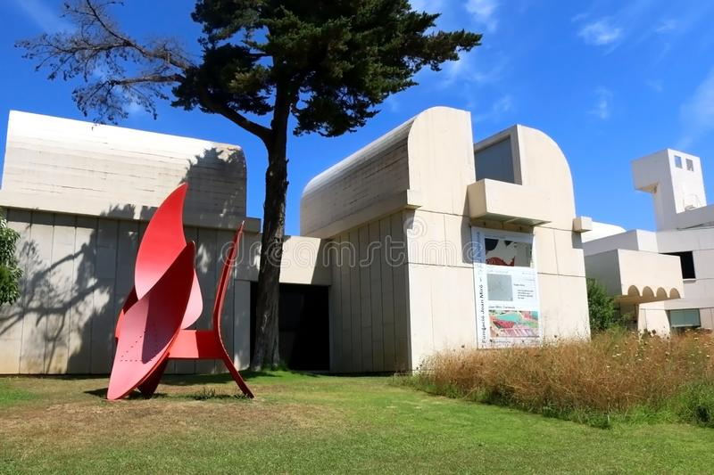 Architecture in Barcelona, Spain. Barcelona, Spain - July 8, 2018: Joan Miró Foundation Fundació Joan Miró is ais a museum of modern art honoring artist royalty free stock image