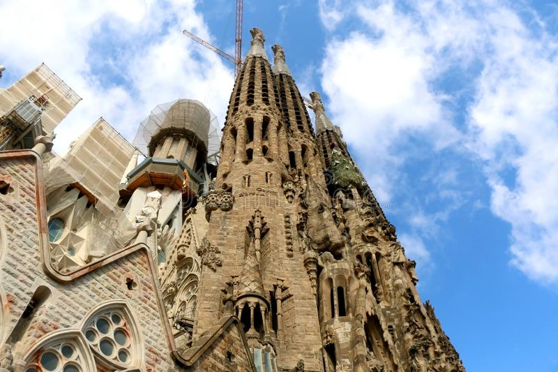 Architecture in Barcelona, Spain. Barcelona, Spain - July 6, 2018: Nativity facade of Sagrada Familia - famous cathedral in Barcelona, Spain designed by Antoni stock photography