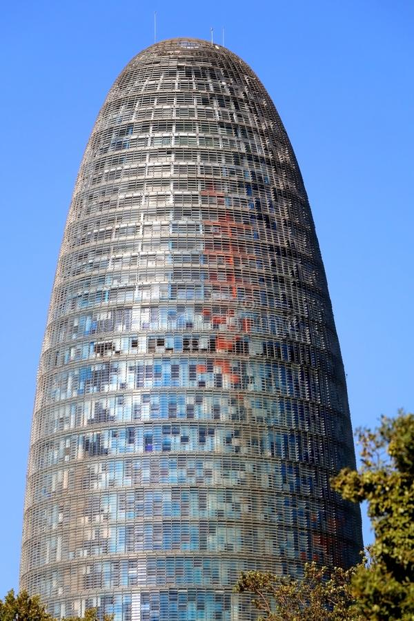 Architecture in Barcelona, Spain. Barcelona, Spain - July 7, 2018: The Torre Glories, formerly known as Torre Agbar, landmark in Barcelona, Spain royalty free stock photo