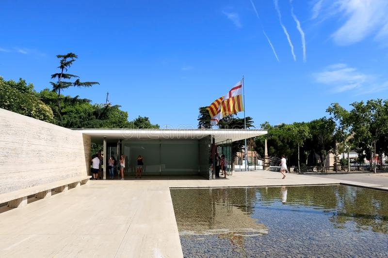 Architecture in Barcelona, Spain. Barcelona, Spain - July 8, 2018: Visitors at Barcelona Pavilion, designed by Ludwig Mies van der Rohe in Barcelona, Spain stock photos