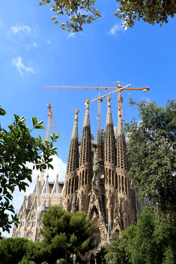 Architecture in Barcelona, Spain. Barcelona, Spain - July 6, 2018: Nativity facade of Sagrada Familia - famous cathedral in Barcelona, Spain designed by Antoni royalty free stock image