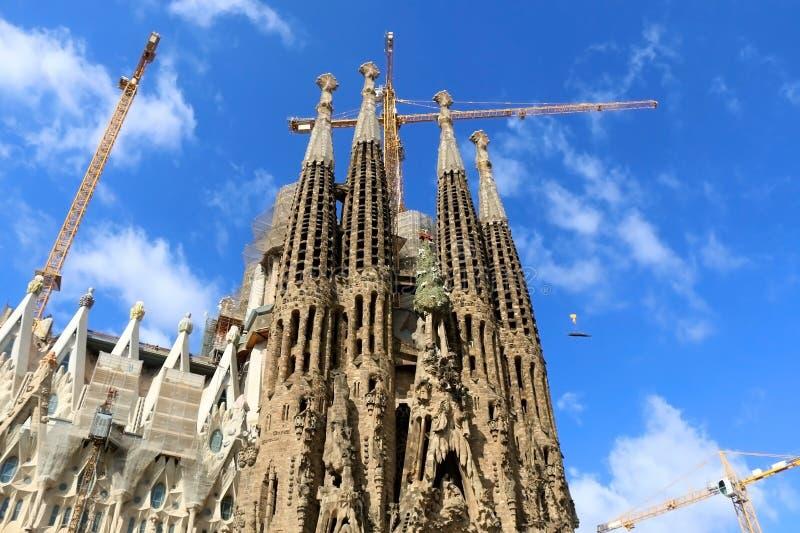 Architecture in Barcelona, Spain. Barcelona, Spain - July 6, 2018: Nativity facade of Sagrada Familia - famous cathedral in Barcelona, Spain designed by Antoni stock photo