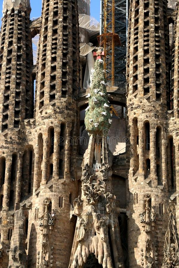 Architecture in Barcelona, Spain. Barcelona, Spain - July 6, 2018: Nativity facade of Sagrada Familia - famous cathedral in Barcelona, Spain designed by Antoni royalty free stock photo