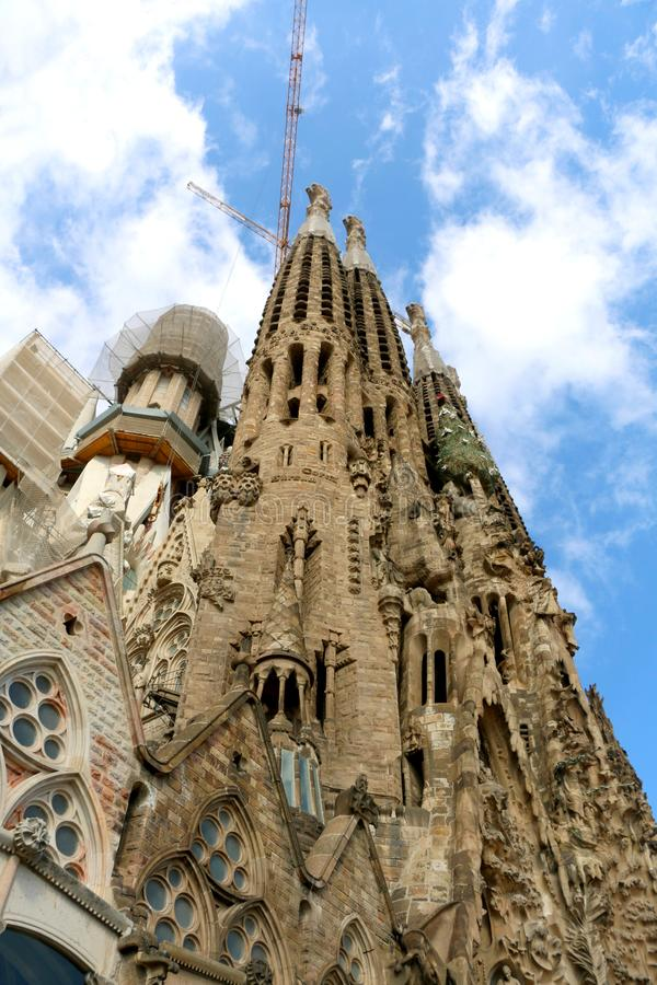 Architecture in Barcelona, Spain. Barcelona, Spain - July 6, 2018: Nativity facade of Sagrada Familia - famous cathedral in Barcelona, Spain designed by Antoni stock photos