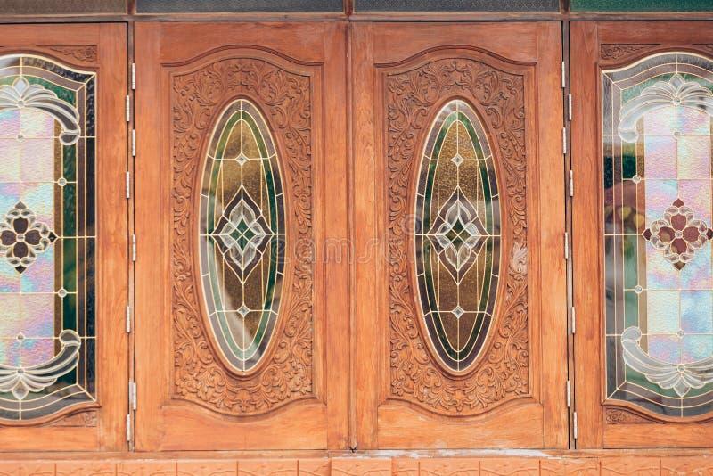 Double wood windows stock photo
