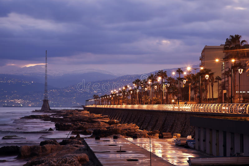Architecture of Beirut. Architecture of downtown Beirut seen during sunrise stock photo