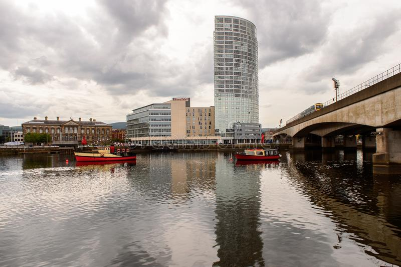 Architecture of Belfast, Northern Ireland. BELFAST, NI - JULY 14, 2016: Architecture on the coast of the river Lagan, Belfast, the capital and largest city of royalty free stock image