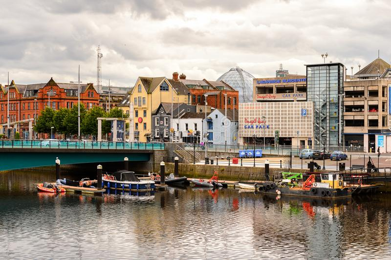 Architecture of Belfast, Northern Ireland. BELFAST, NI - JULY 14, 2016: Architecture of on the coast of the river Lagan, Belfast, the capital and largest city of royalty free stock photos