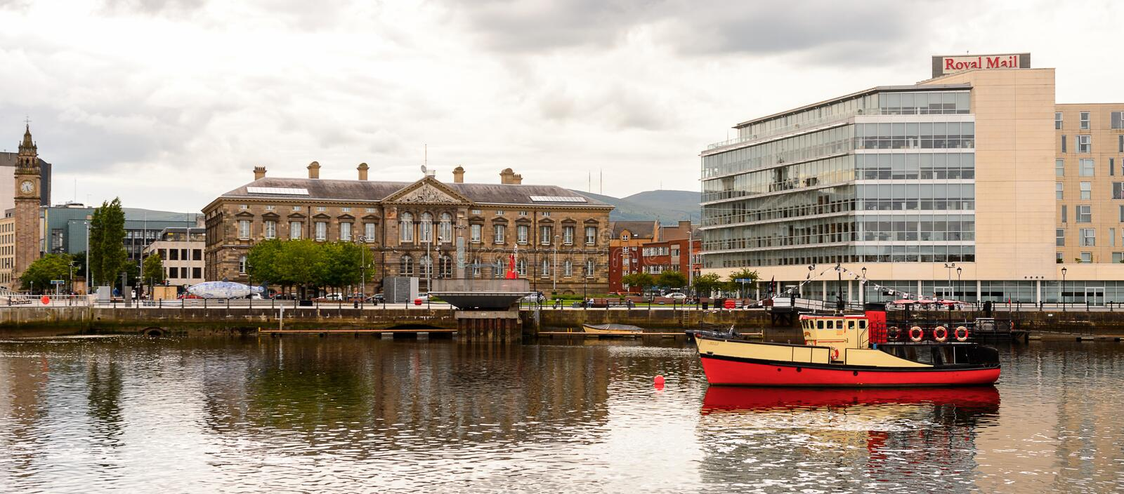 Architecture of Belfast, Northern Ireland. BELFAST, NI - JULY 14, 2016: Architecture on the coast of the river Lagan, Belfast, the capital and largest city of stock images