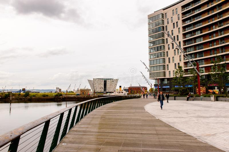 Architecture of Belfast, Northern Ireland. BELFAST, NI - JULY 14, 2016: Titanic Belfast Harbour, a major maritime hub in Northern Ireland known as Queen's Island stock images