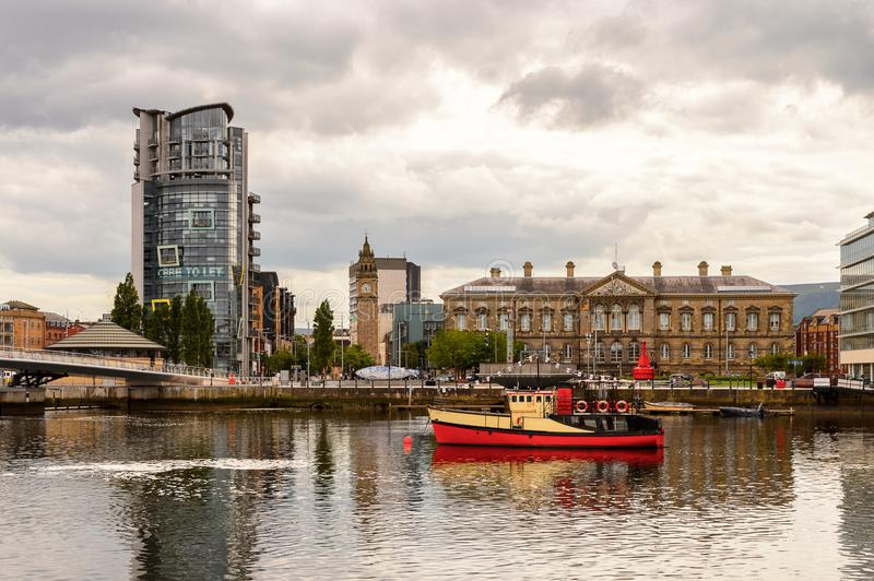 Architecture of Belfast, Northern Ireland. BELFAST, NI - JULY 14, 2016: Architecture of Belfast Harbour, a major maritime hub in Northern Ireland known as Queen' stock photos