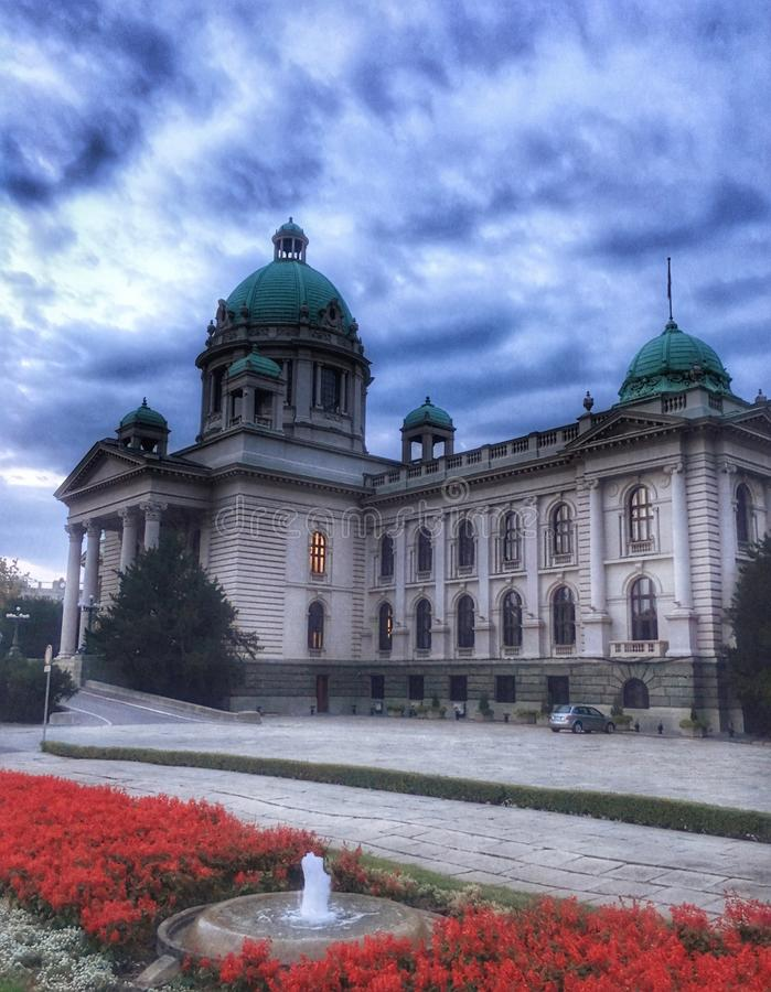 Architecture of Belgrade, Serbia. Parliament, building stock photo