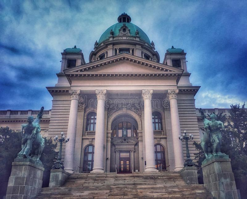 Architecture of Belgrade, Serbia. Parliament, building stock images