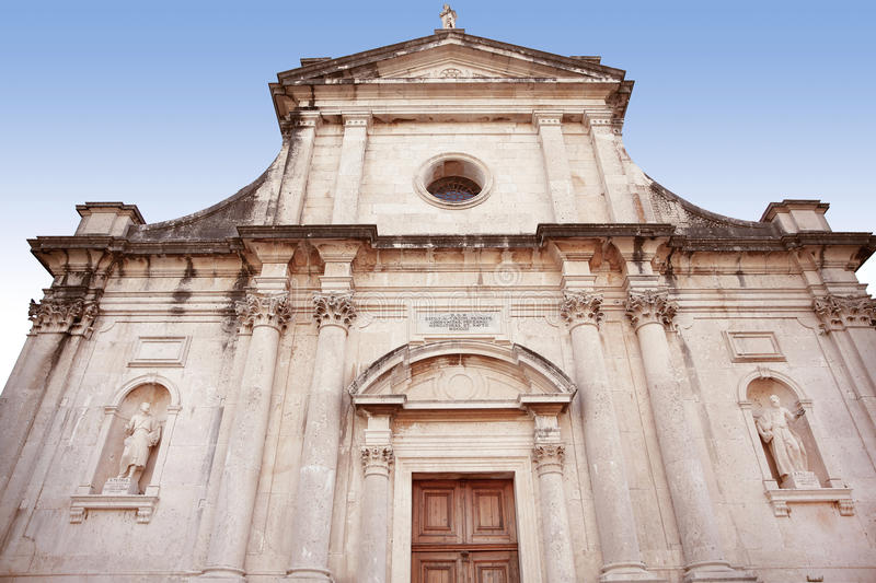 Architecture. Birth of Our Lady church in town Prcanj, Montenegro. front view royalty free stock photography
