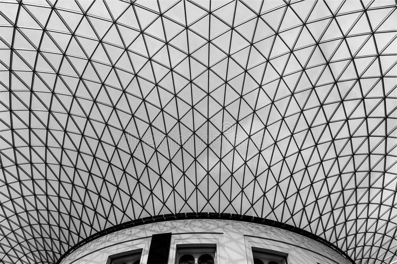 Architecture Black and White Geometric Skylight stock photos
