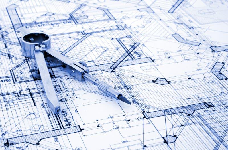 Architecture blueprint. & measurement and designer tools stock photo