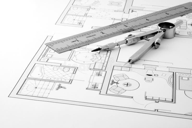 Architecture blueprint. Measurement and designer tools stock image