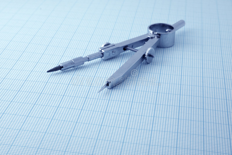 Architecture blueprint. Measurement and designer tools royalty free stock images