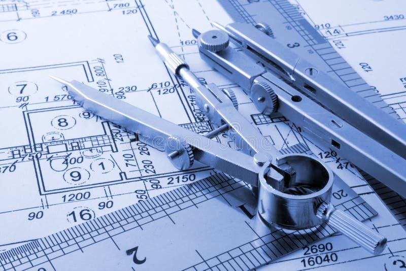 Architecture blueprint. Measurement and designer tools stock images
