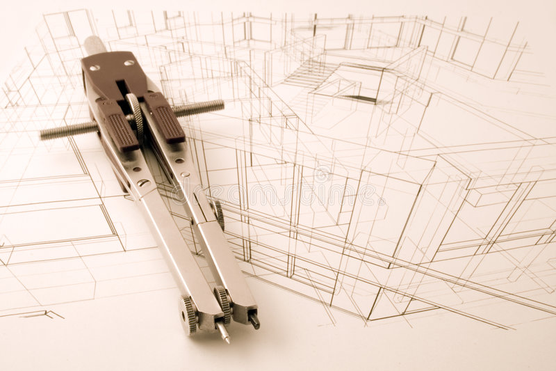 Architecture blueprint. Measurement and designer tools stock images