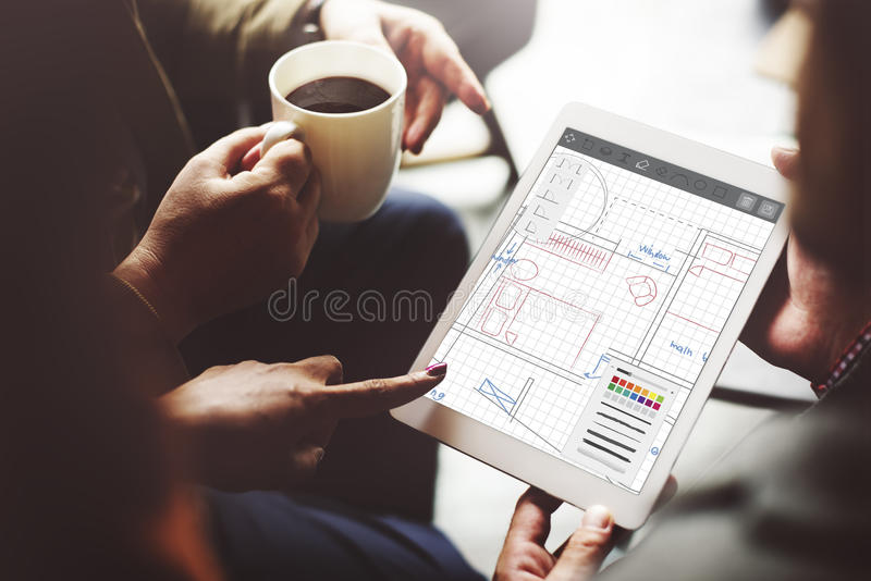 Architecture Blueprint Desing Engineering Structure Concept royalty free stock photography