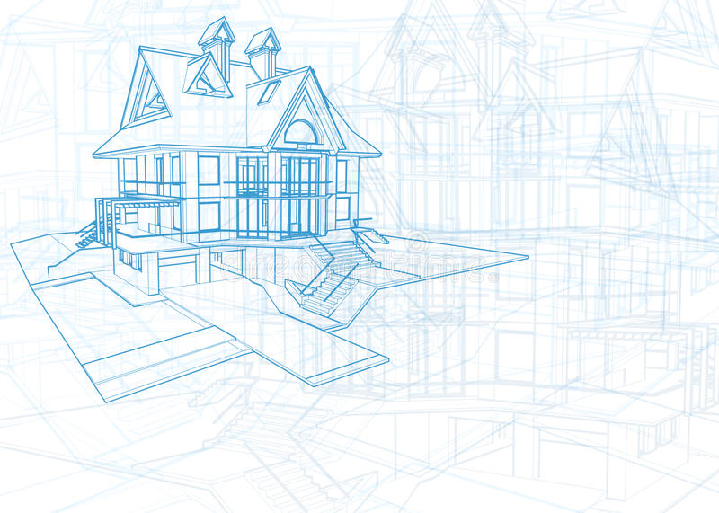 Architecture blueprint - house. Architecture blueprint - 3d house draw / vector illustration / Eps10 royalty free illustration