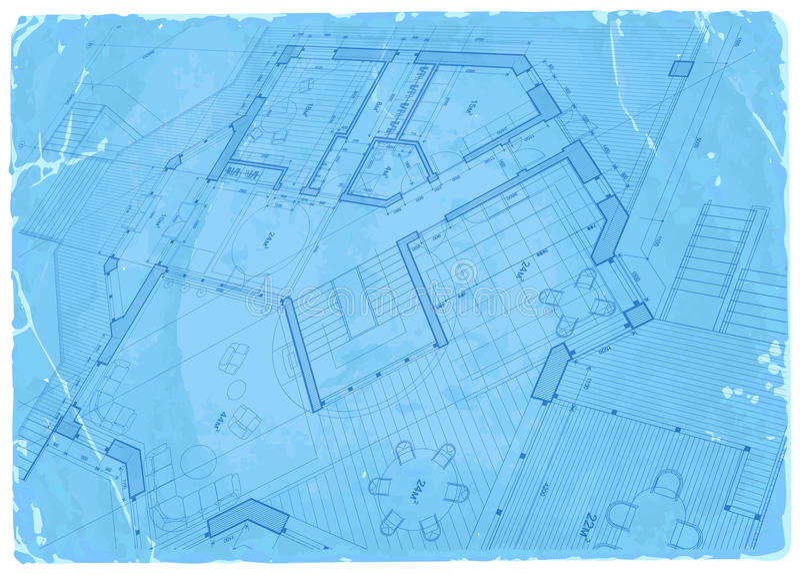 Architecture blueprint - house plan stock illustration