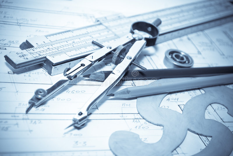Architecture blueprint & tools stock photo