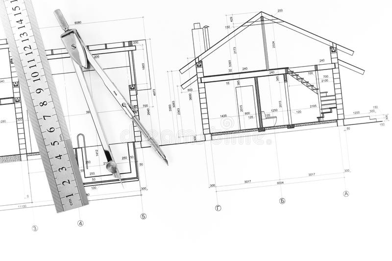 Architecture Blueprint And Tools Stock Photo - Image of dimensions ...