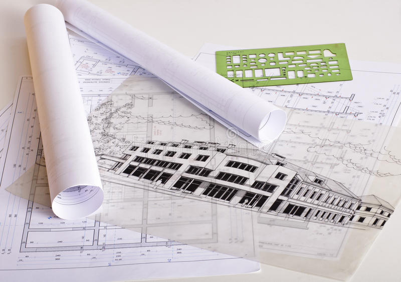 Architecture blueprints stock photo