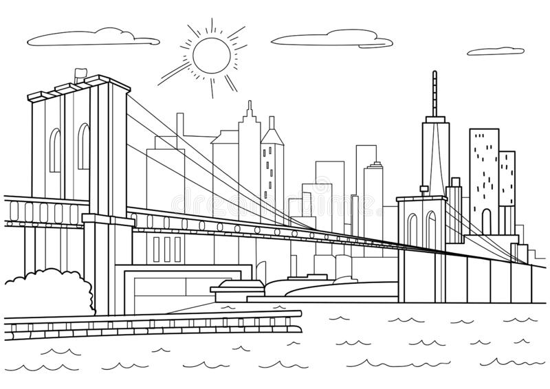Brooklyn bridge, New York. Coloring book for adults. royalty free stock images
