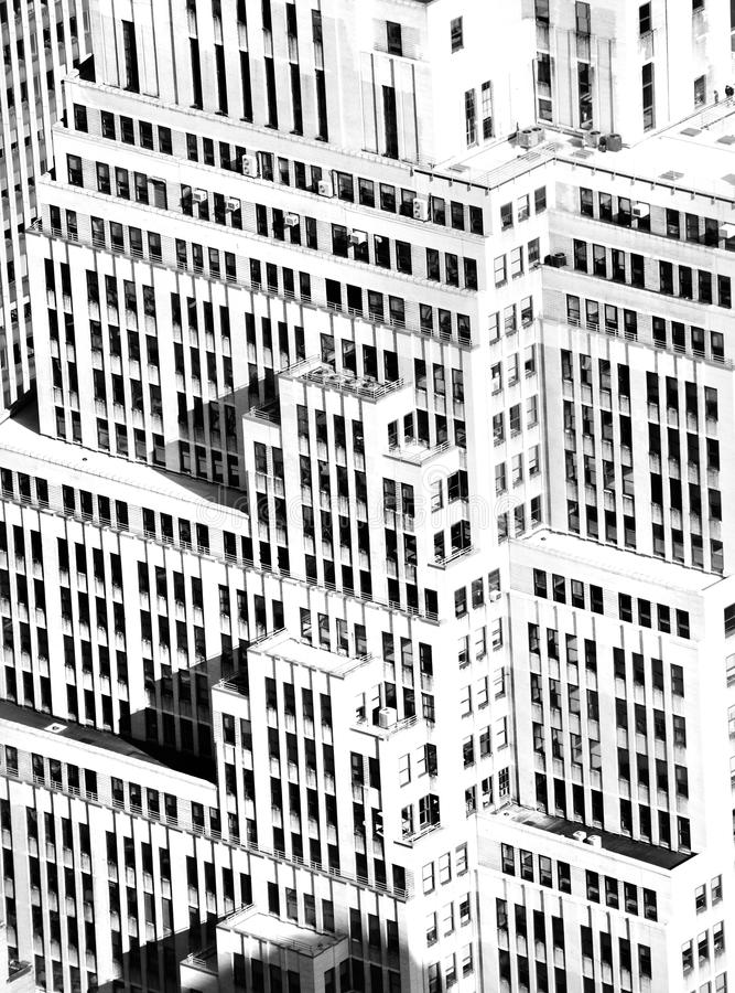 Architecture building facade. Aerial high key shot of traditional building facade architecture in New York City royalty free stock images