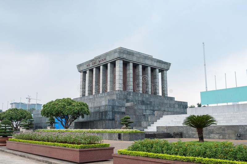 Architecture building Ho Chi Minh Mausoleum place of revolutionary leader in center of Ba Dinh Square stock photography