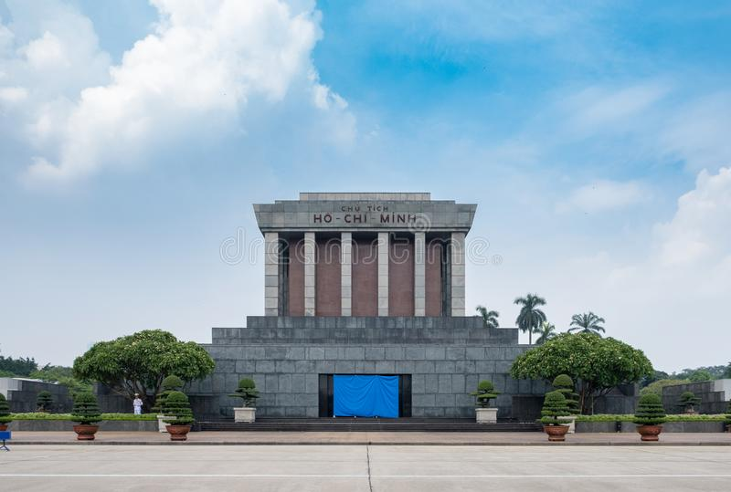 Architecture building Ho Chi Minh Mausoleum place of revolutionary leader in center of Ba Dinh Square royalty free stock photography
