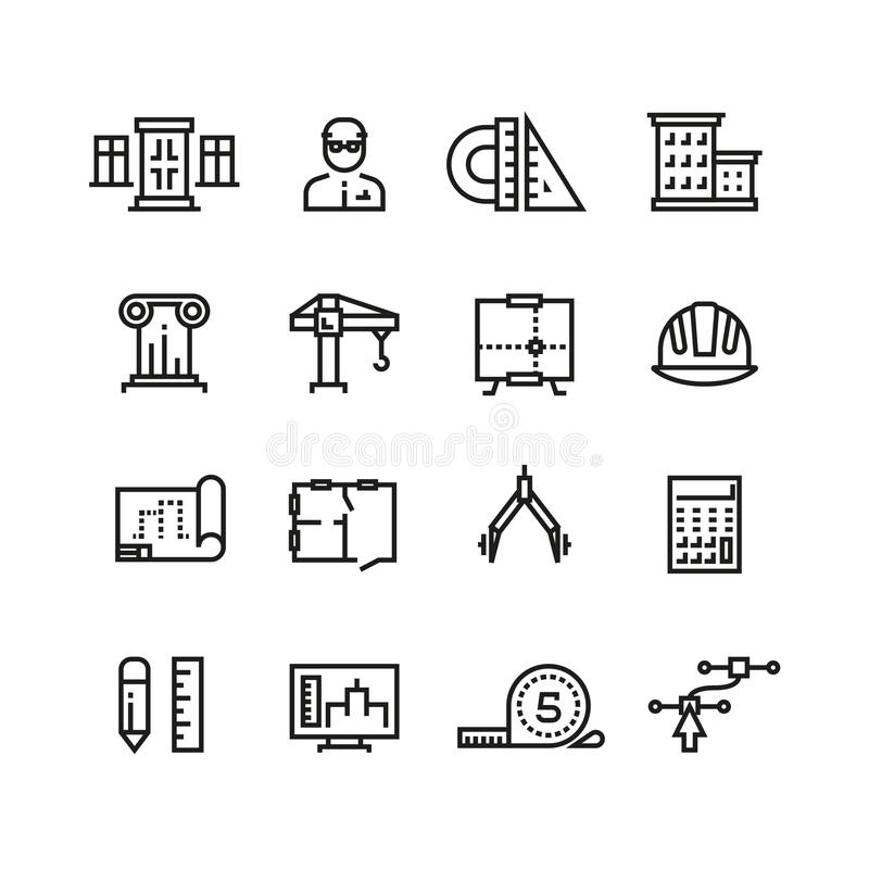 Architecture, building planning, house construction line vector icons set vector illustration