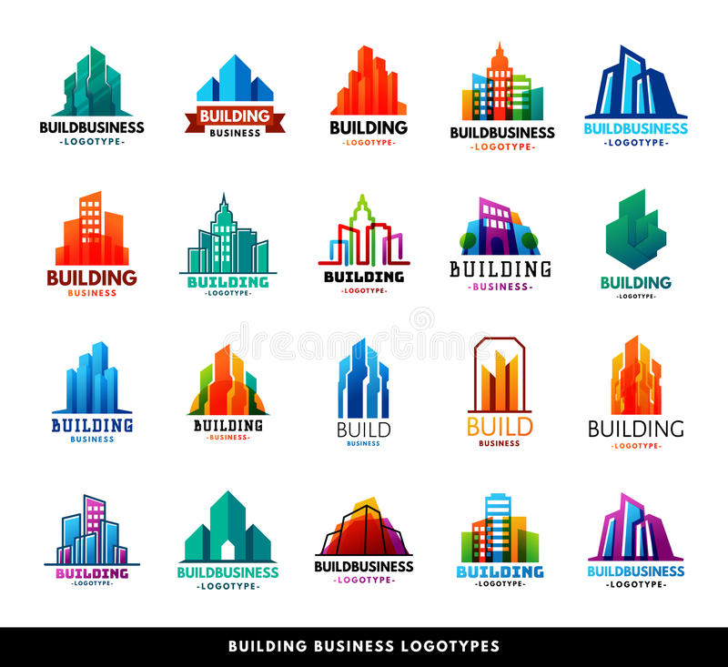 Architecture buildings geometry silhouette skyscraper construction builder developer agency logo badge real estate stock illustration