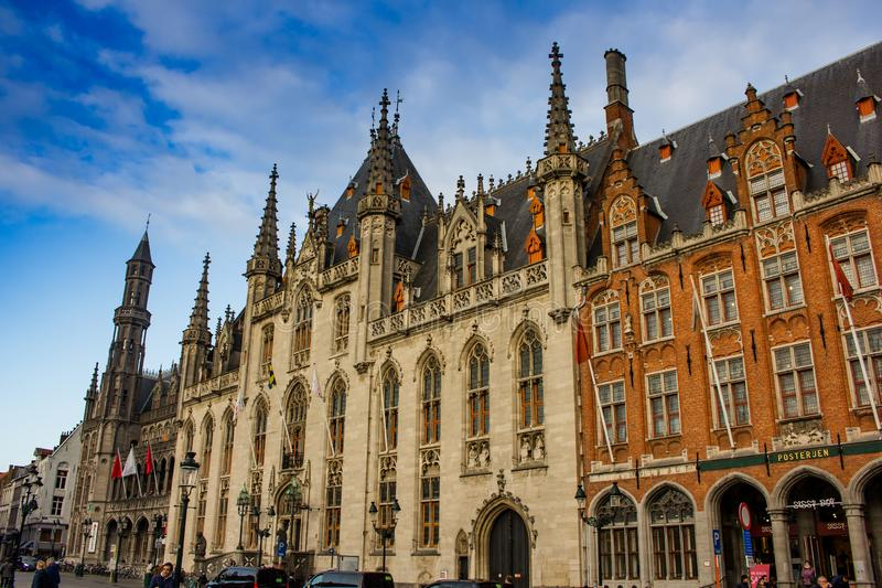 Architecture in Central Square - Bruges, Belgium stock photography