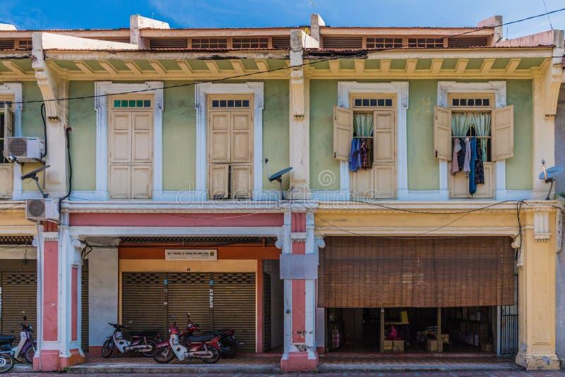Architecture chinoise de shophouse en George Town Malaysia photographie stock libre de droits