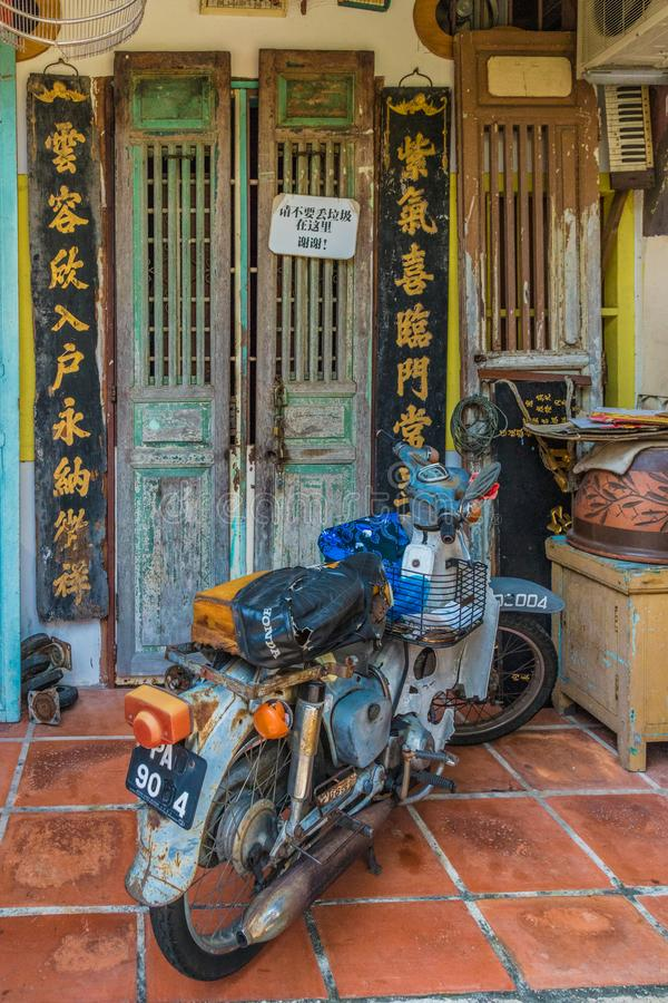 Architecture chinoise de shophouse en George Town Malaysia photo stock