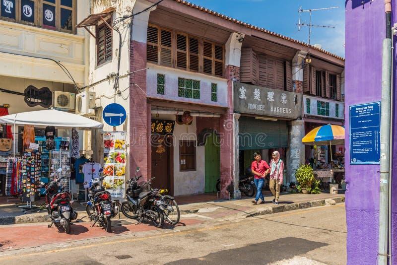 Architecture chinoise de shophouse en George Town Malaysia photos stock