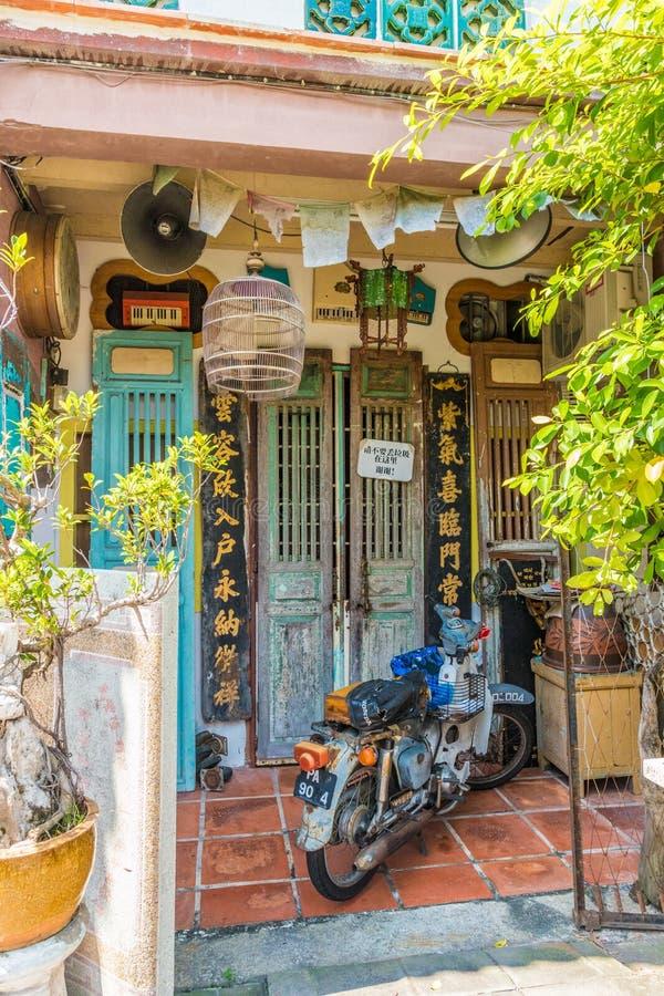 Architecture chinoise de shophouse en George Town Malaysia image libre de droits