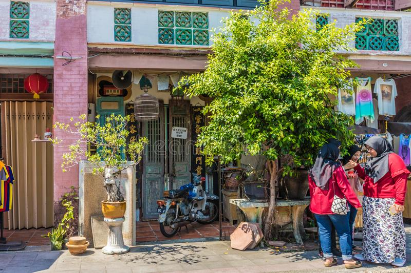 Architecture chinoise de shophouse en George Town Malaysia images stock