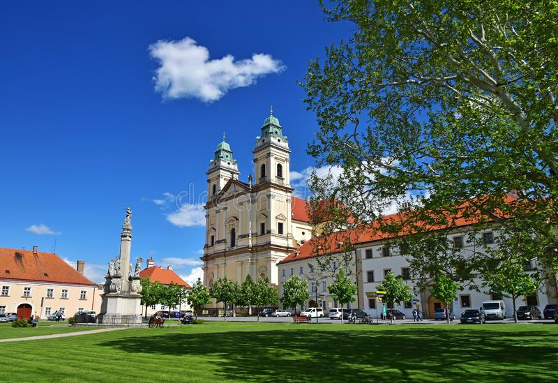 Valtice town Moravia. Architecture of church in Valtice town in south of Moravia in sunny summer day, Czech Republic royalty free stock images