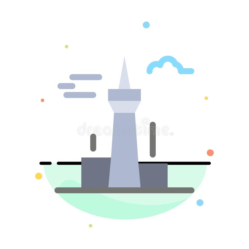 Architecture and City, Buildings, Canada, Tower, Landmark Abstract Flat Color Icon Template stock illustration