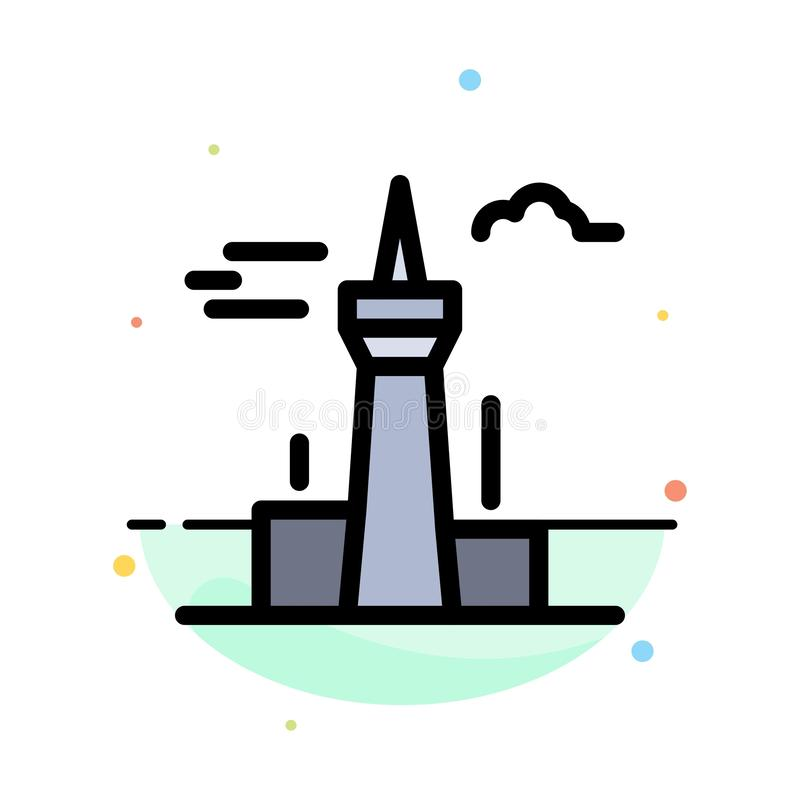 Architecture and City, Buildings, Canada, Tower, Landmark Abstract Flat Color Icon Template vector illustration