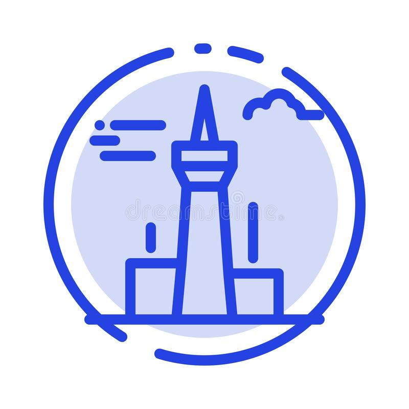 Architecture and City, Buildings, Canada, Tower, Landmark Blue Dotted Line Line Icon stock illustration
