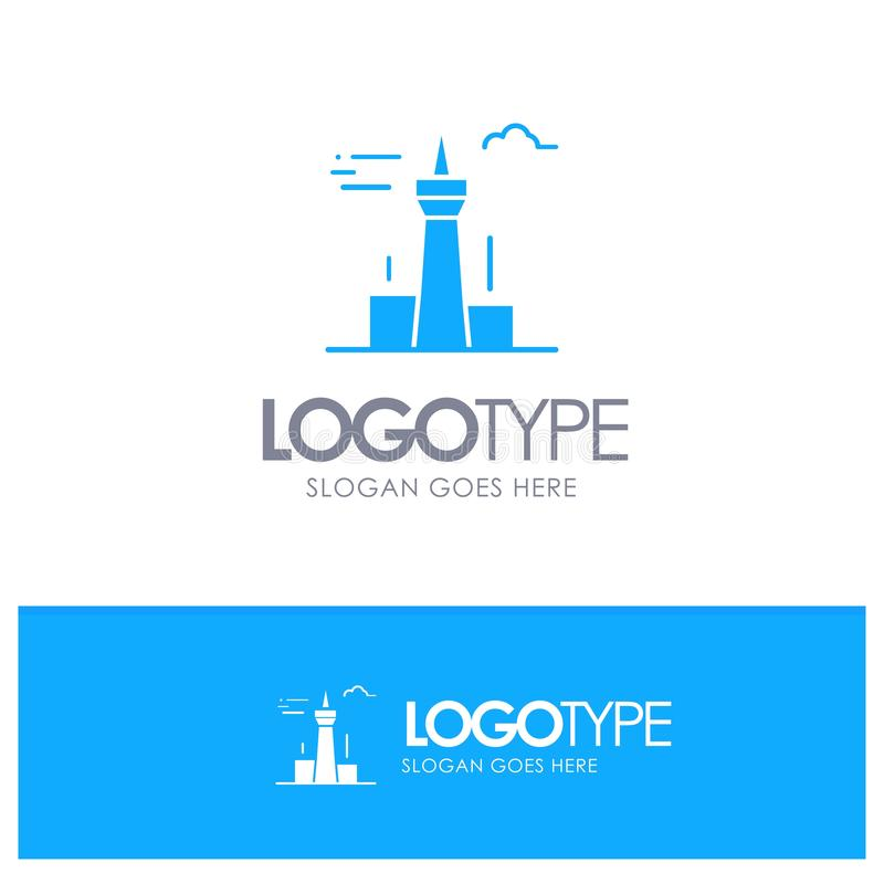 Architecture and City, Buildings, Canada, Tower, Landmark Blue Solid Logo with place for tagline stock illustration