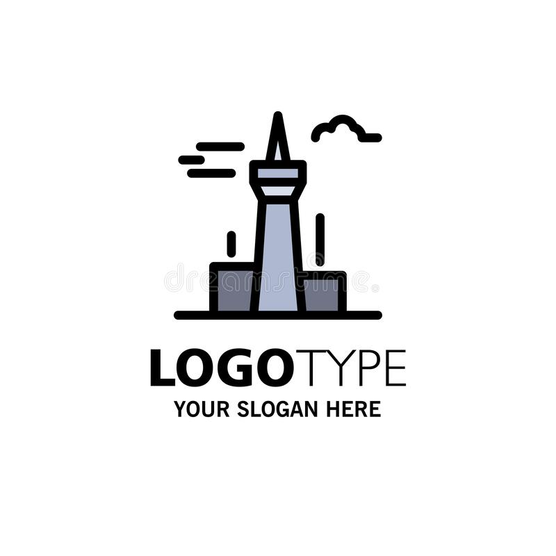 Architecture and City, Buildings, Canada, Tower, Landmark Business Logo Template. Flat Color royalty free illustration